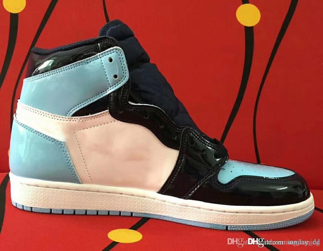 7849aa0212c 2019 2019 High 1 OG Retro WMNS ASG UNC Patent Basketball Shoes Mans  Obsidian Blue Chill White 1S Sports Boots Retro Sneakers CD0461 401 With  Box From ...