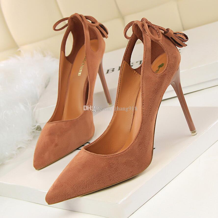 55deb51b2a Size 34-40 High-quality women's high-heeled shoes Coral suede thin-heeled  pointed single shoe color; Red nude khaki color pink black grey or