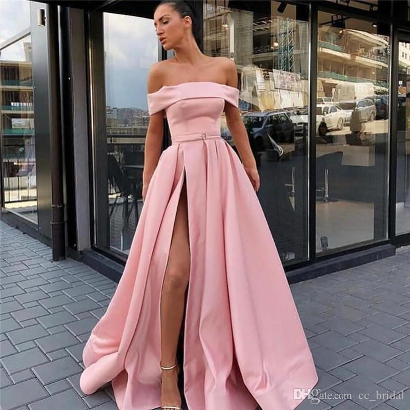 6409450dd9 2019 Side Split Pink Prom Dresses Strapless Luxury Satin Long Evening Gowns  Custom Made Off Shoulder Vestido De Festa Cheap Fashion Dress Prom Dresses  ...