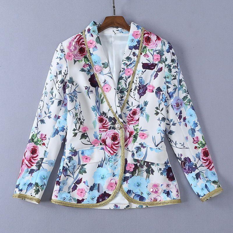 48ceecd49678 2019 Ladies Luxury Newest 3D Floral Print Lapel Collar Blouse Women ...