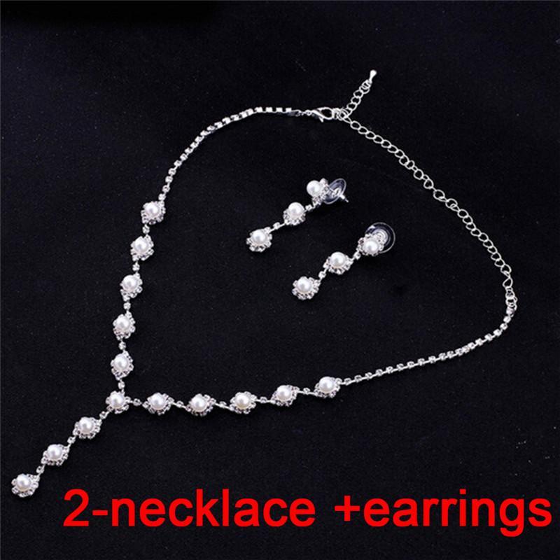 Collana di perle simulate Collana di perle di fiori e orecchini Set di gioielli da sposa donna Accessori di moda feste