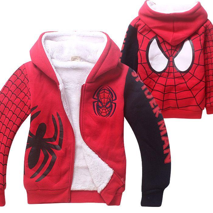 750161e40db0 New Spider Man Cartoon Children Autumn Winter Sport Hoodies Thick ...