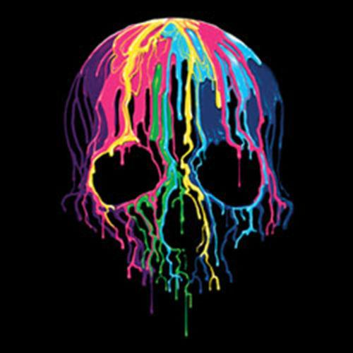 Colorful Painted Trippy Gothic Melting Skull Funny Cool T-Shirt TeeMen Women Unisex Fashion tshirt Free Shipping