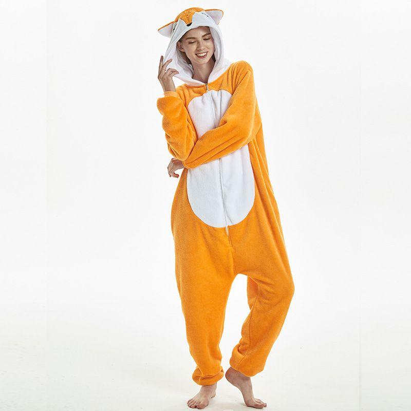 b4af65a151bd Divertido Orange Fox Kigurumi Flannel Animal Onesie Pijamas de fiesta para  mujer Body Cosplay Unisex Ropa de dormir Pijamas de Halloween