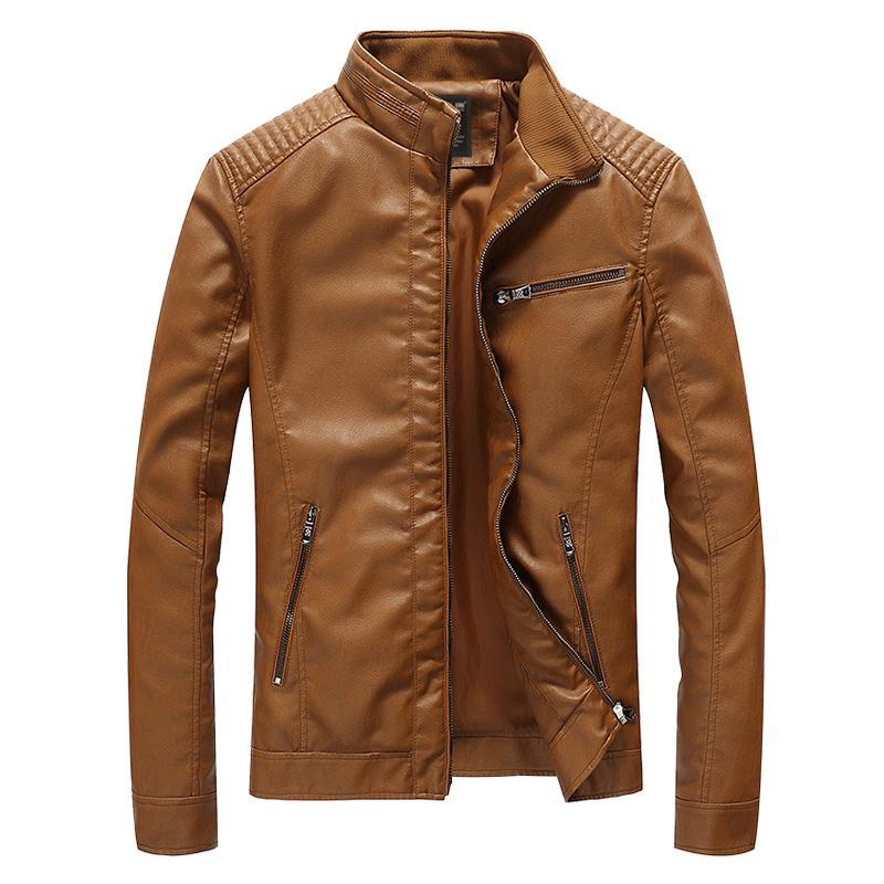 Men's PU Motorcycle Leather Jacket Spring Autumn Stand Collar Casual Solid Slim Fit Coat 4XL 5XL Bomber Faux Leather Jackets Men