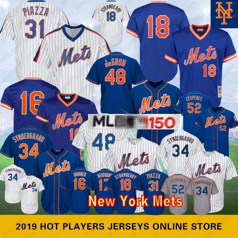 7d42670fcc6 2019 48 Jacob DeGrom  18 Darryl Strawberry New York 150th Anniversary  Baseball Jerseys Mets 16 Dwight Gooden 34 Noah 17 Hernandez 52 Cespedes  From ...