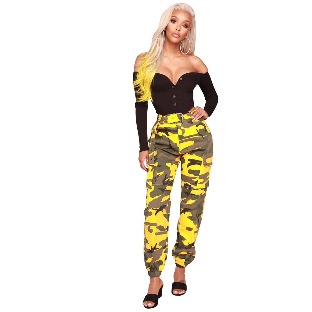 Yellow Camouflage Cargo Pants Trends Fashion Ladies Girls Sexy Hot Workout LS6114 Camo Pocket Belt Club Party Outfits Streetwear Clubwear