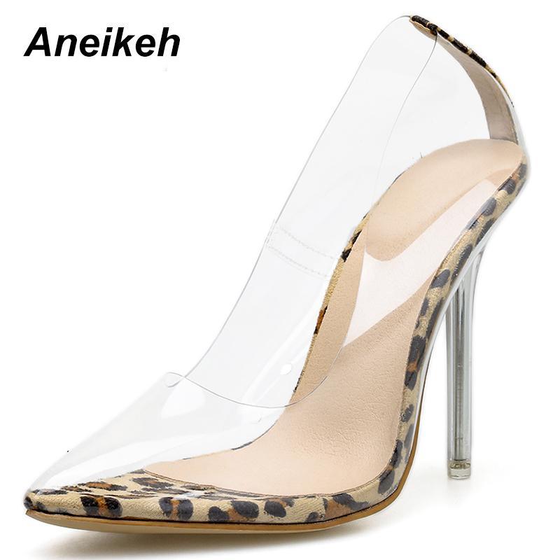 6e2213e6cdbb4c Dress Aneikeh 2019 New Leopard Grain Women Pumps Pvc Transparent High Heels  Sexy Slip On Pointed Toe Party Shoes Lady Thin Heels Pumps Summer Shoes  Womens ...