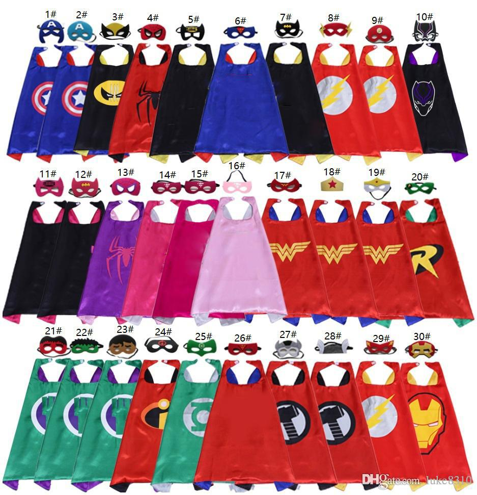 70 * 70 cm Double Side Superhero Capes et Masques pour enfants Top Quality 30 Options Enfants Cap de Bande Dessinée Cosplay Party Halloween Costumes