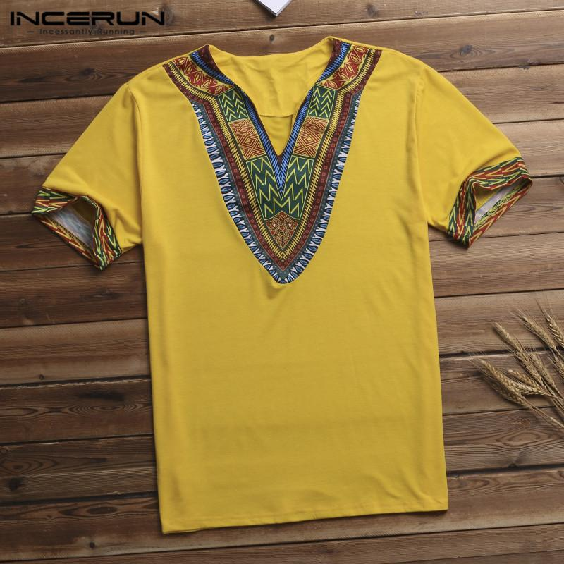 Streetwear Dashiki Arab T-shirt Men T Shirt V Neck Short Sleeve Tribal Succinct Camisa Hombre African Men Clothes Big Size 5XL