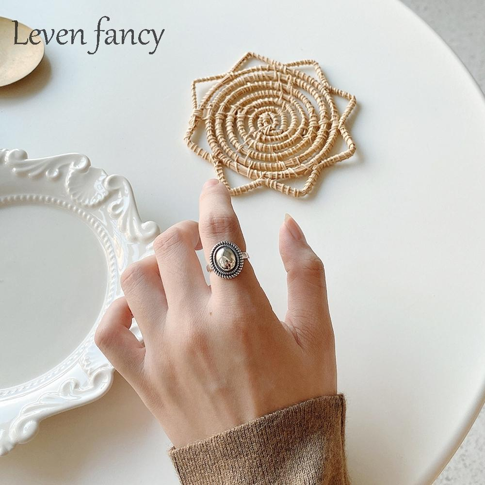 Vintage Mirror Ring In Sterling Silver 925 Retro Oval Macrame Cocktail for Women Fashion Knuckle Korea Rings Jewelry Gift