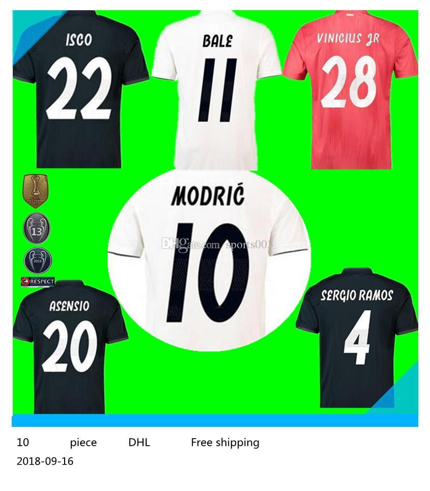 huge discount eb901 c682b 2018 Real Madrid home soccer jersey 18 19 Real Madrid RONALDO BENZEMA BALE  SERGIO RAMOS MORATA ISCO NAVAS ASENSIO Jerseys