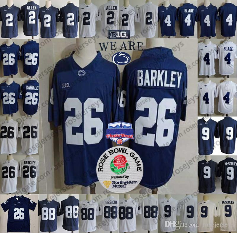 fb9765db7 2019 2019 Penn State Nittany Lions  26 Saquon Barkley 2 Tommy Stevens 9  Trace McSorley 4 Ricky Slade Navy Blue White Stitched NCAA Jerseys From  Rosejerseys