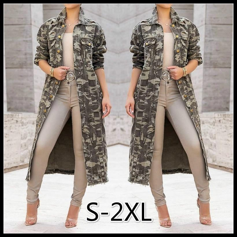 Women's Fashion Street Style  Turn-down Collar Sexy Camouflage Long-sleeved Large Size Women's Jacket Long Coat S-2XL