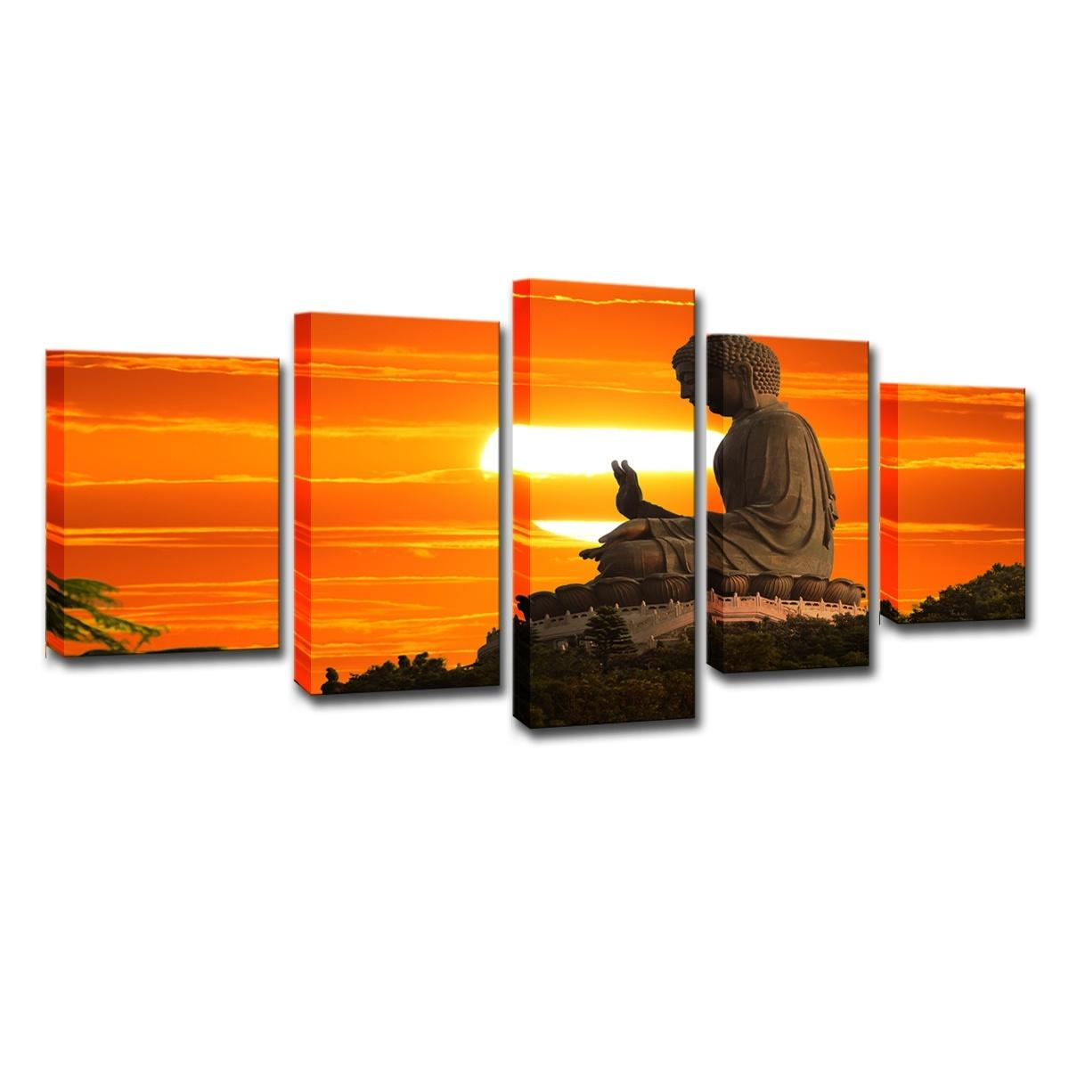 (Only Canvas No Frame) 5Pcs Sunset Buddha Pictures Modular Buddhism Wall Art HD Print Canvas Painting Fashion Hanging Pictures