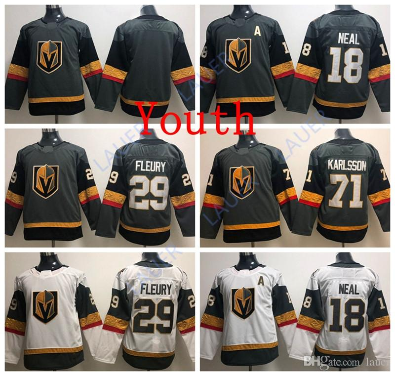 online store d840b 5f744 Youth Vegas Golden Jersey Knights 18 James Neal Hockey 29 Marc-Andre Fleury  71 William Karlsson Stitched Ice Jerseys Kid