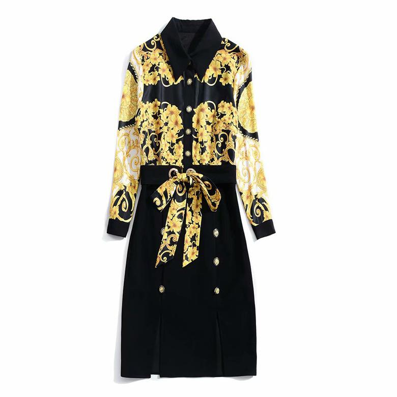 2018 Fall Autumn Long Sleeve Turn-Down Collar Floral Print With Ribbon Tie-Bow Sash Knee-Length Dress Luxury Runway Dresses N26K112201