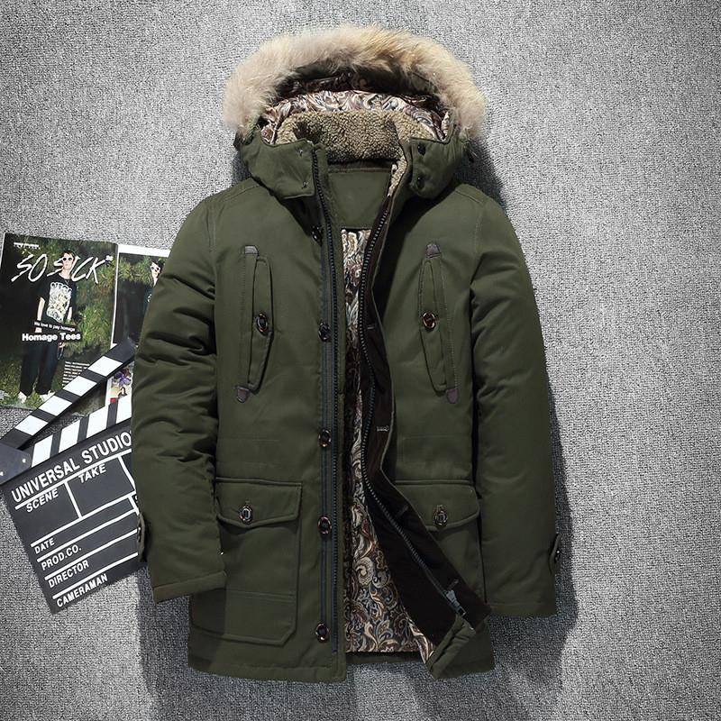 Russia winter jacket for men fur collar thick Hooded down jacket man warm Lamb hairy liner windbreaker Cargo duck down coat T190912