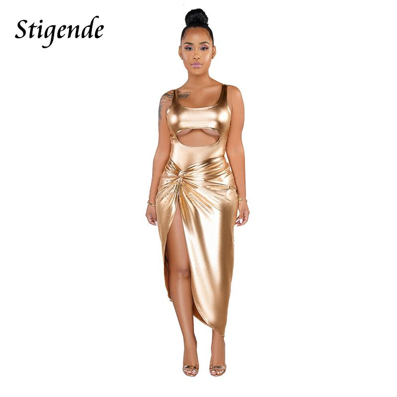 Stigende Sexy Bling vestito a due pezzi Set donne Backless alta Split Party Dress aperto davanti cinghia Body e gonna Set 2 pezzi