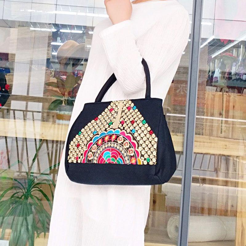 ba67be43fbee98 New National Women Embroidery Black Bag Embroidered Shoulder Messenger Bag  Handbag Vintage Hmong Ethnic Thai Indian Boho Bags Luxury Bags Handbags  Wholesale ...