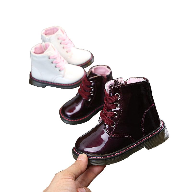 Children Kids Toddler Baby Little Girl Patent Leather Martin Boots Shoes For Girls White Snow Boots New 1 2 3 4 5 6 7 Years 29