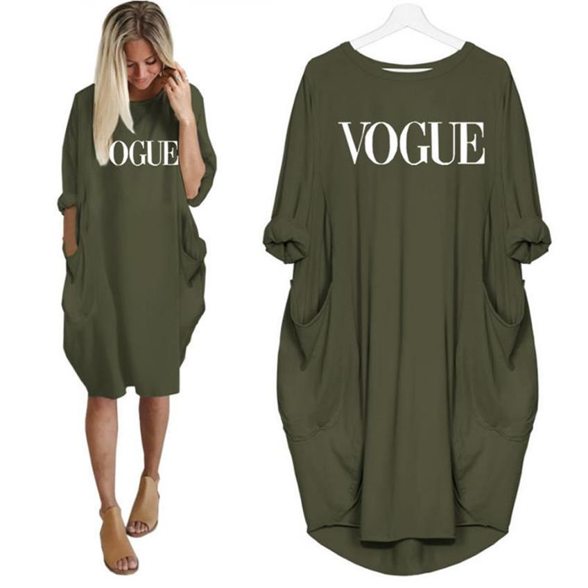 2019 New Fashion T-Shirt for Women VOGUE Letters Print Pocket Tops Harajuku T-Shirt Plus Size Graphic Tees Women Off Shoulder