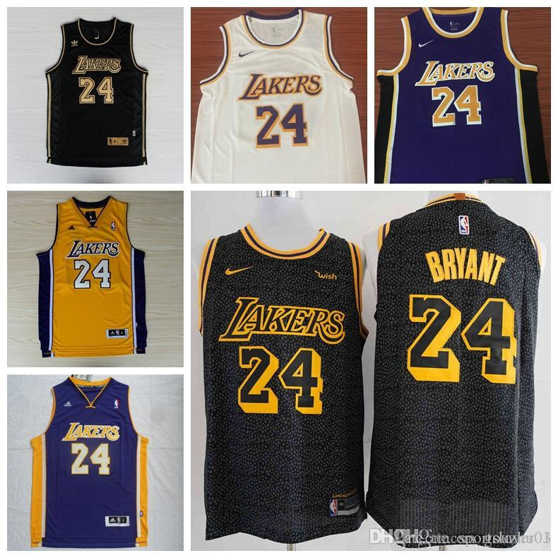 361e4496d 2019 2018 Los Angeles Newest Kobes Jersey 100% Stitched Laker 24 Bryants  Embroidered Logo Black White Pink Shorts Mens Jersey From Lover06