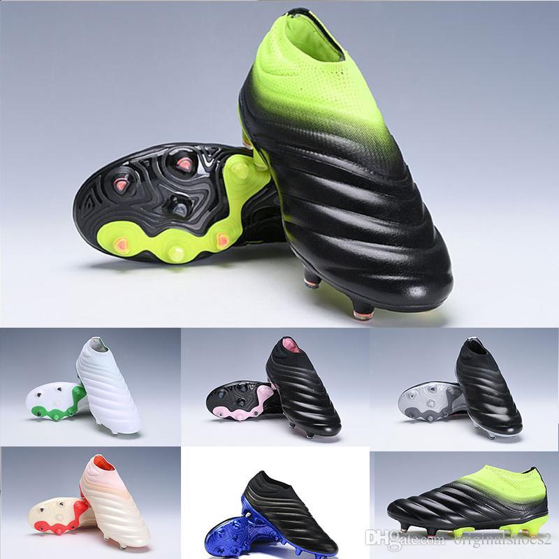 9d511a1d24 Compre 2019 Más Nuevos Para Hombre Copa 19+ FG Fútbol Zapatos De Alta  Calidad Copa Slip On Laceless Waves Diseño Blanco Negro Verde Fútbol  Zapatos Botas 38 ...