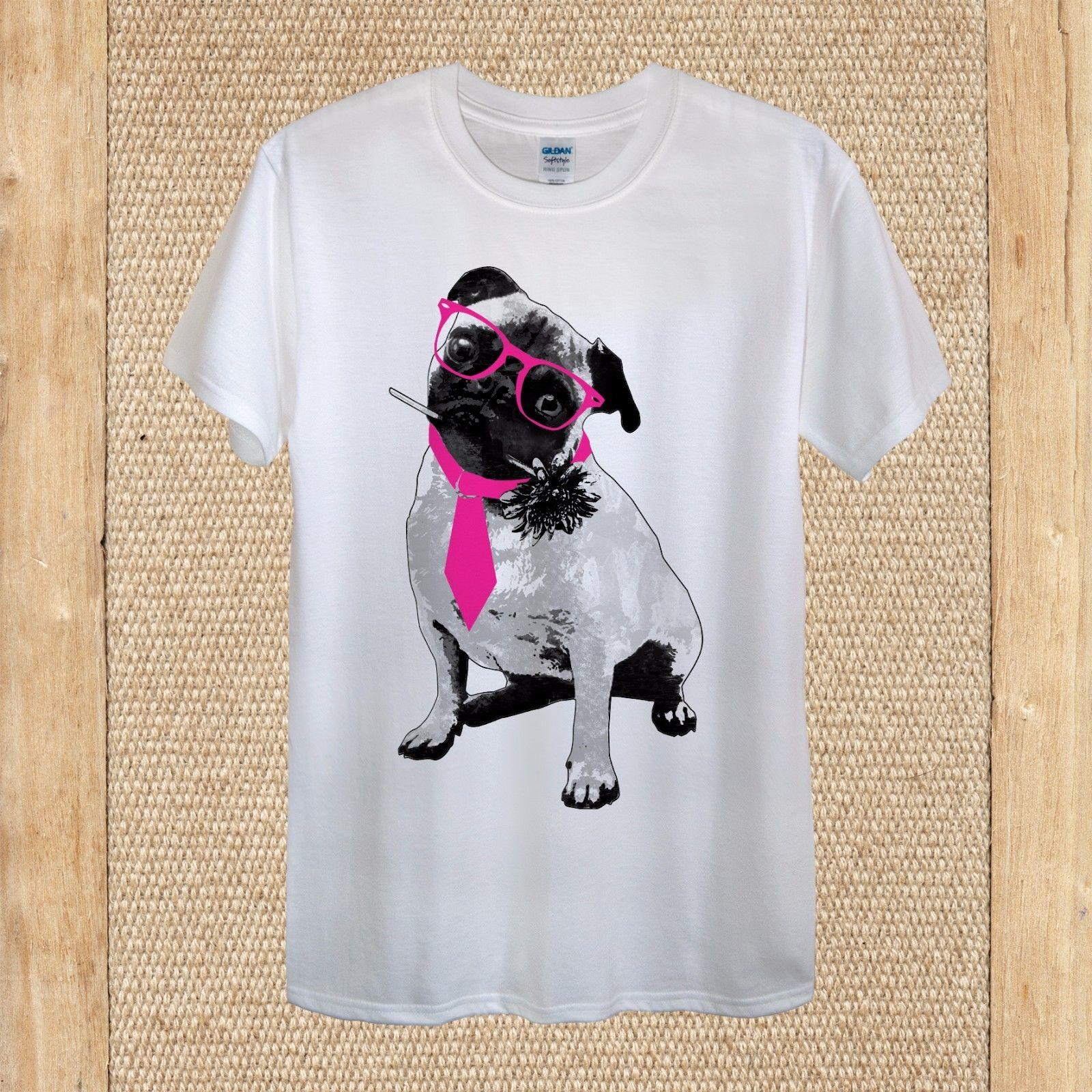Pug Hipster Pink Glasses Funny Cute Tshirt Design 100% Cotton unisex women Brand shirts jeans Print cattt windbreaker Pug tshirt