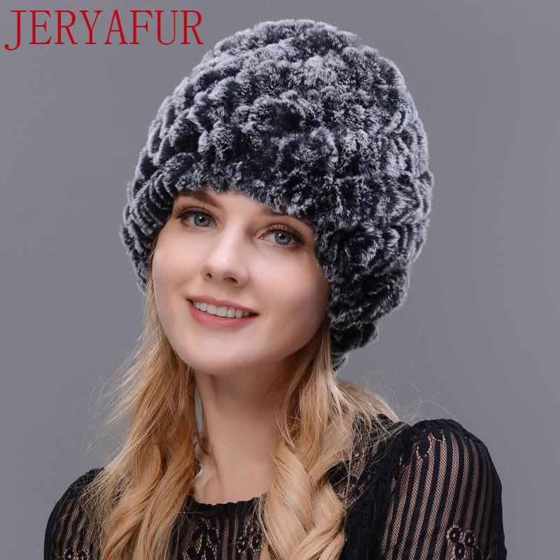 a3b56274d31 JERYAFUR Man Woman Real Fur Hat Horn Rabbit Fur Handmade Fur One Knit Hat  Female Winter Ski Hat Cap Cap S1218 Trucker Caps Summer Hats From Ruiqi07
