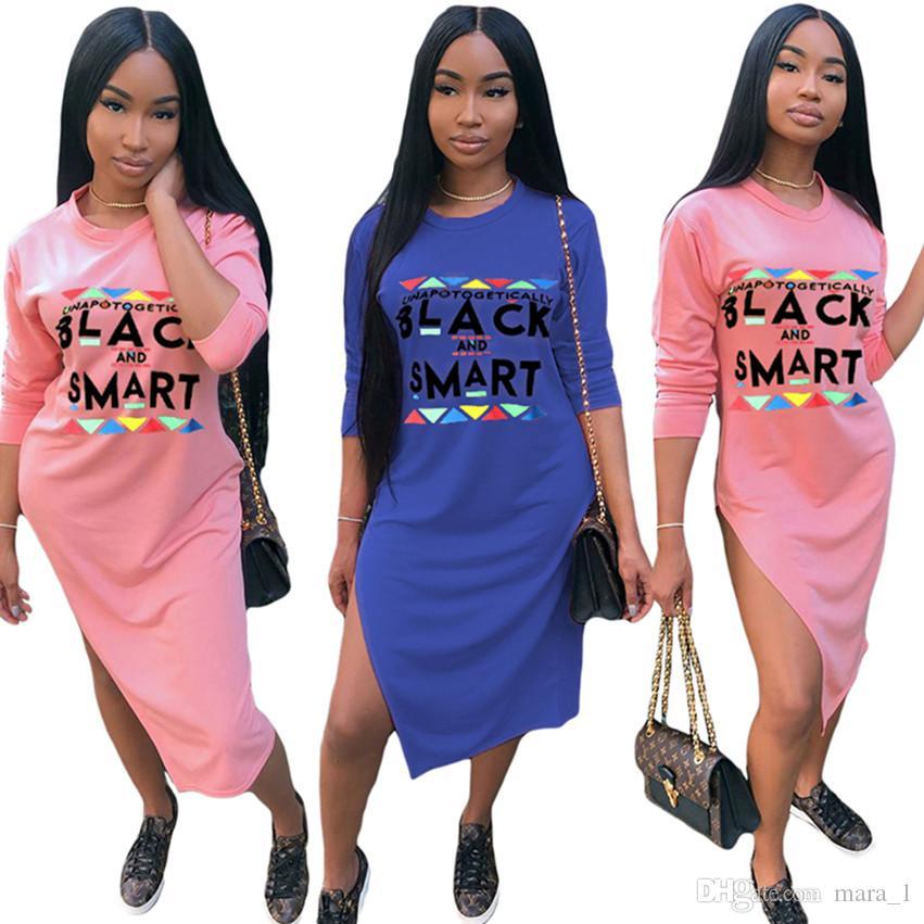 34cf9059d5972c Women Long Sleeve Midi Dress Black Smart Letter Long Skirts Split ...