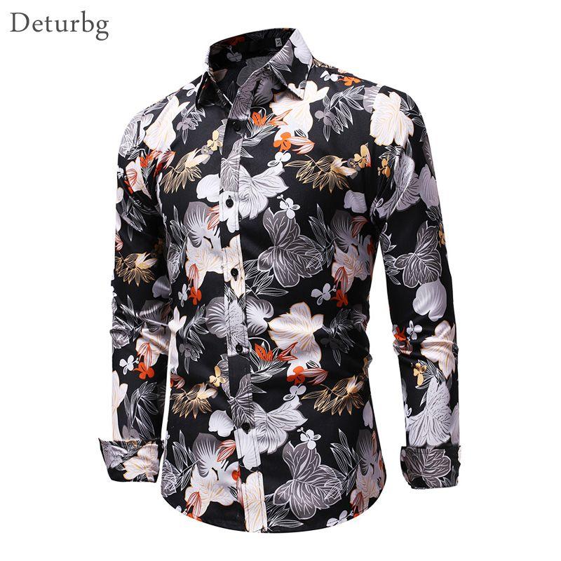 854bb34dd2 Compre Moda Para Hombre 3D Estampado De Flores Camisa De Algodón Casual Para  Hombre De Manga Larga Slim Fit Tops Streetwear Camisas De Vestir Negras Para  ...