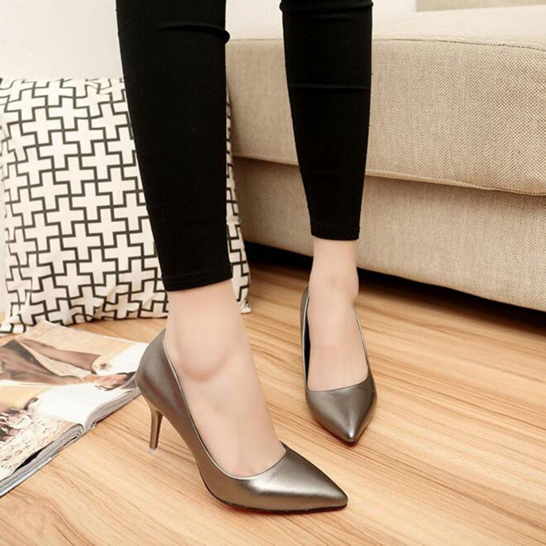 ad3fec6889 Dress Shoes New Stiletto Heels Ladeis Women Pumps Fashion Leather Work  Pointy Fine With Casual Classic Black High Heels Office Lady Men Sandals  Best Shoes ...