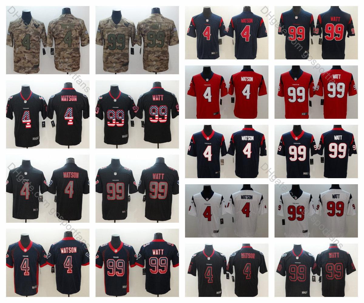 huge discount 62f5b 57893 2019 Texans 4 Houston Deshaun Watson Jersey 99 J.J. Watt Jersey 2019 Camo  Salute to Service Vapor Untouchable Mens Rush Football Jerseys