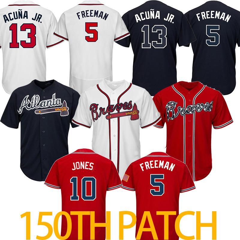 94c7c63e3 2019 10 Chipper Jones Atlanta 5 Freddie Freeman Braves 44 Hank Aaron 3 Dale  Murphy Baseball Jerseys From Sports zhou