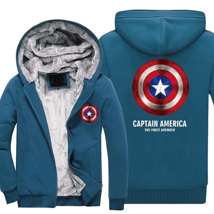 Winter Casual Thickened Jackets Women/men Coats Captain America printing Cashmere Keep warm Hooded Thick Zipper cotton material Sweatshirts