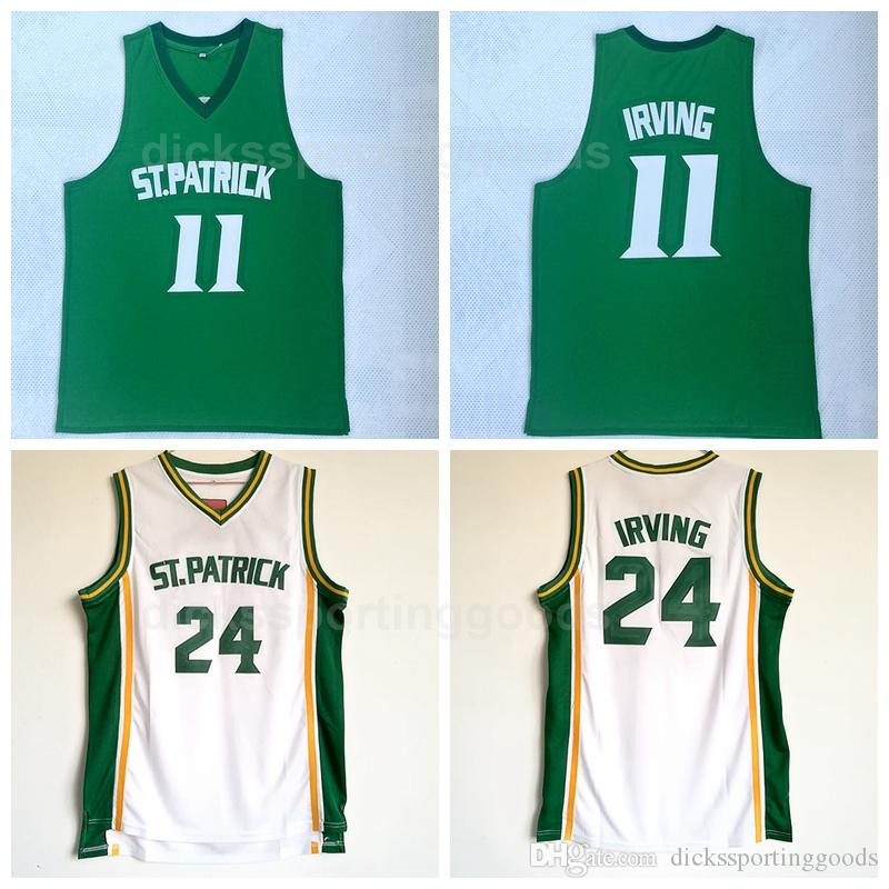 timeless design 103b7 3e9fd NCAA College ST Patrick 11 Kyrie Irving Jersey Men High School 24 Kyrie  Irving Basketball Jerseys Cheap Green Team White Free Shipping
