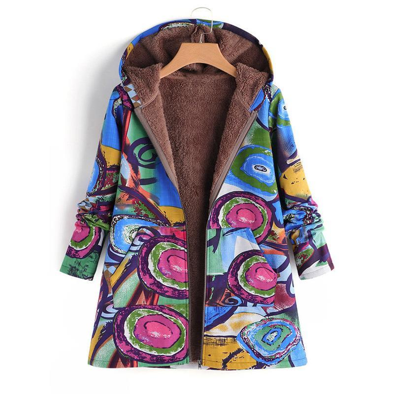 2018 Flower Print Coat Women Jacket Cotton Long Hooded Neck Donna Casual Cappotti Donna Abbigliamento Woolen Warm Winter Coat SJ1115W