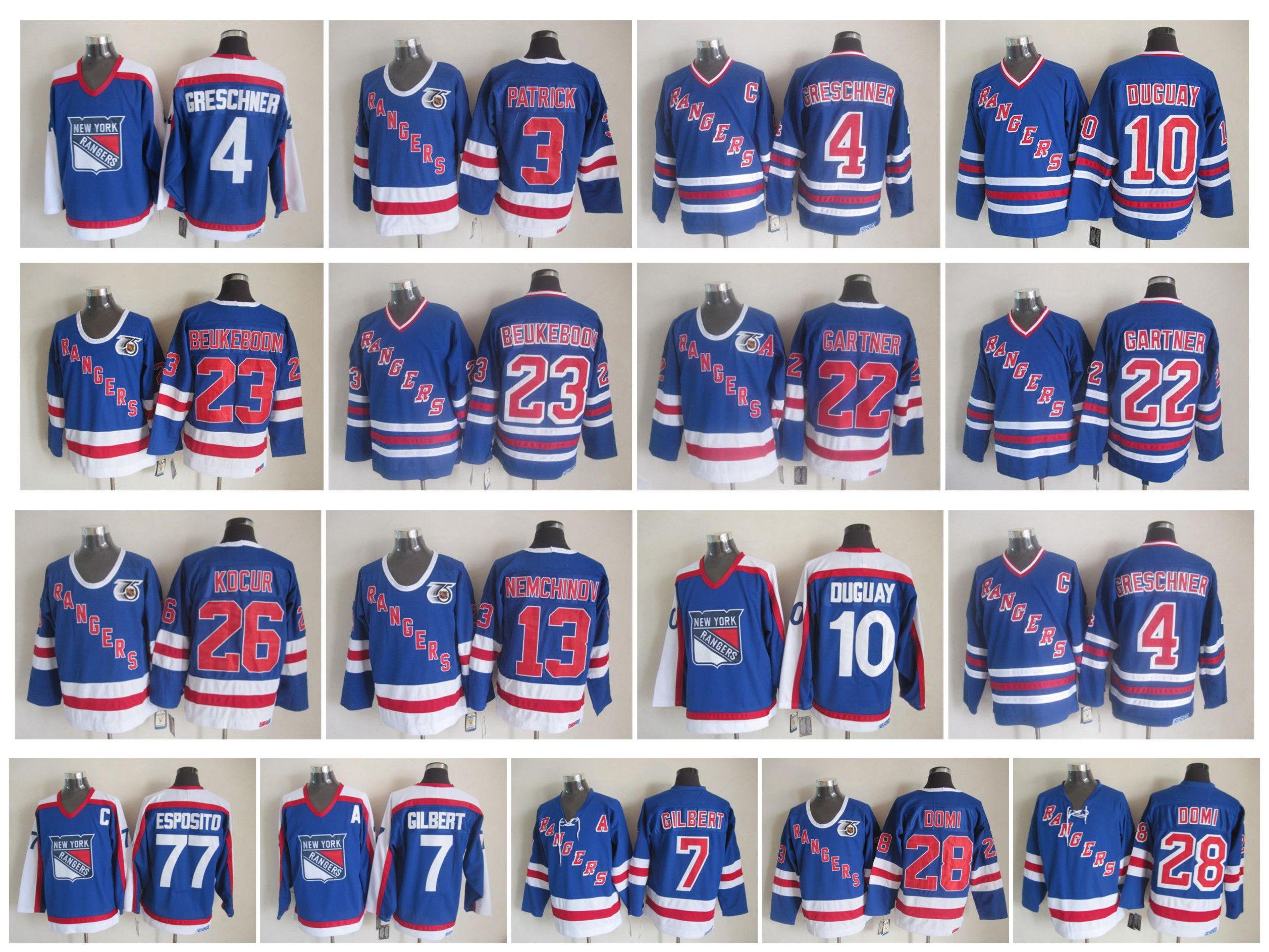 Vintage New York Rangers Jersey 3 James Patrick 4 Ron Greschner 7 Rod  Gilbert 10 Ron Duguay 28 Tie Dom 77 Phil Esposito Gartner CCM Hockey  Edmonton Jerseys ... 55b64f188