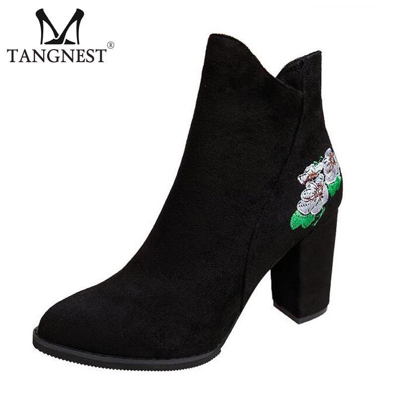 d2c6396e5b9 Compre Vestido Tangnest Otoño Botines De Cuero De Gamuza Para Las Mujeres  Retro Bordado Lateral Botas De Cremallera De Las Mujeres Zapatos De Tacón  Cuadrado ...