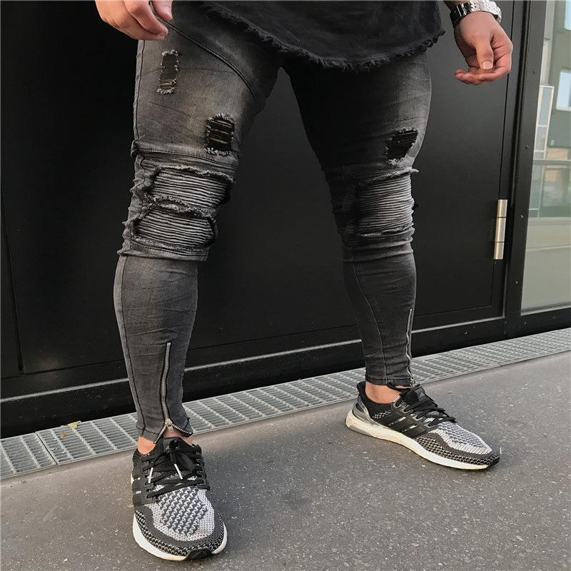 Jeans Men Top Brand 2019 spring Skinny Slim Fit Stretch Denim Pants Distressed Ripped hole hip hop black jeans pencil