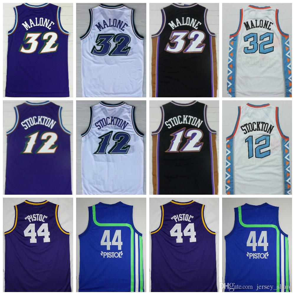 reputable site 324a9 fd99d High Quality #32 Karl Malone Jersey Mens #12 John Stockton Jersey Cheap #44  Pistol Pete Maravich Jerseys Purple White Black Stitched Logos