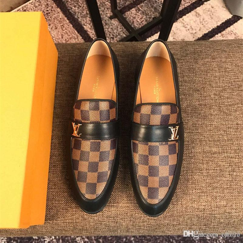 c6e00c2bcc TOP! Top luxurious new mens designers dress shoes Genuine leather Metal  snap Peas wedding Shoes classic fashion Men s shoes big size lo