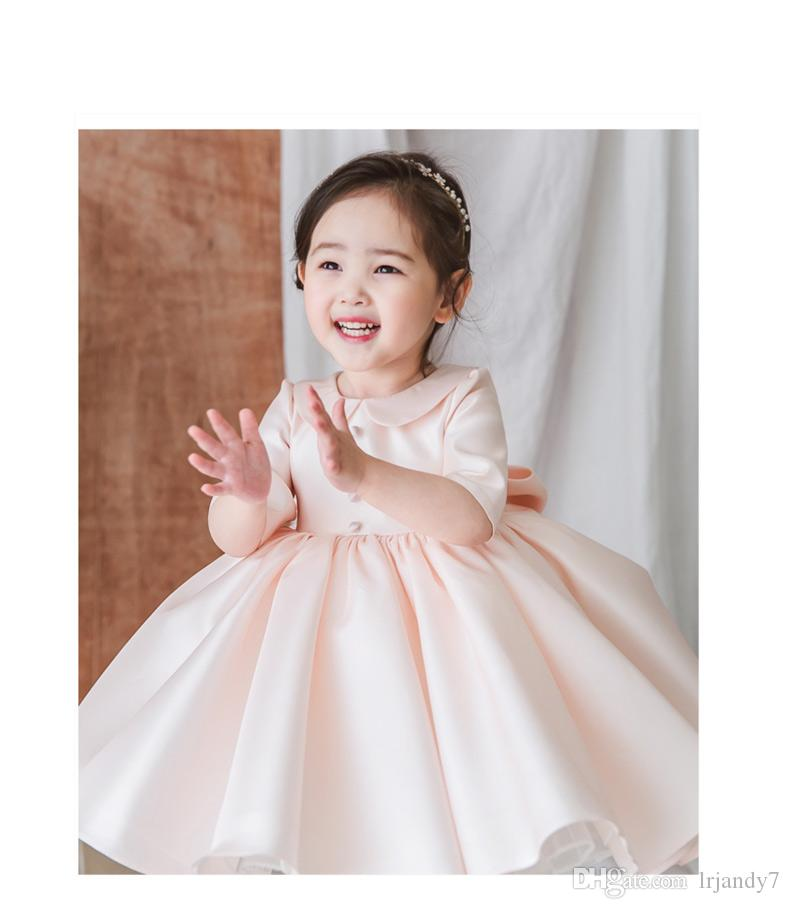 0bddfd4bf75 Pink Tulle Baby Girl Dress Girl S Pageant Dresses Lace Wedding Princess  Party Dresses Half Sleeve Flower Girl First Communion Prom Gown Ball Dresses  ...