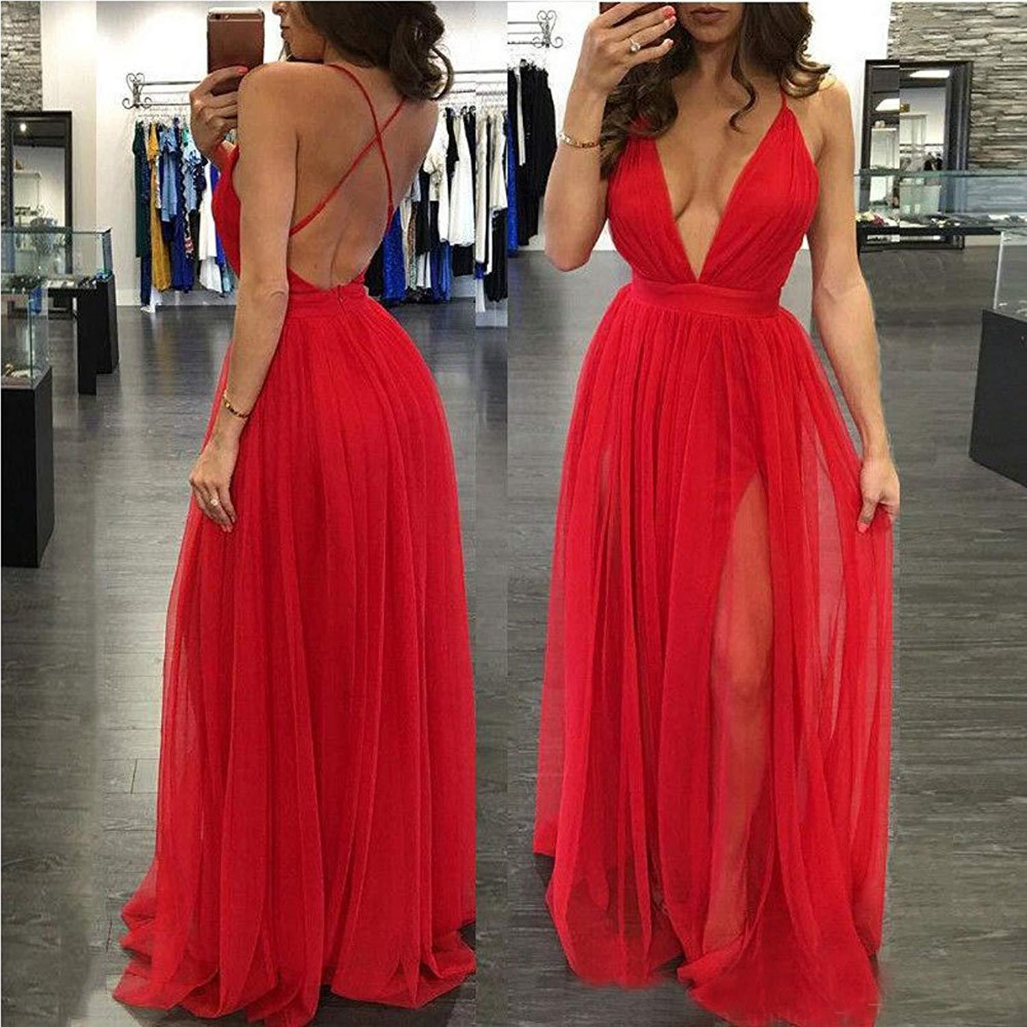 Low-Cut Prom Dresses with Slit