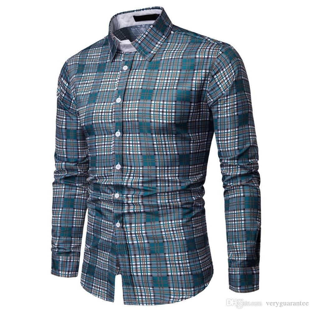 401f8318810a2 Compre Camisas Xadrez Homens Camisa Quadriculada Marca 2019 Nova Moda Botão  Para Baixo De Manga Longa Camisas Casuais Plus Size De Veryguarantee, ...