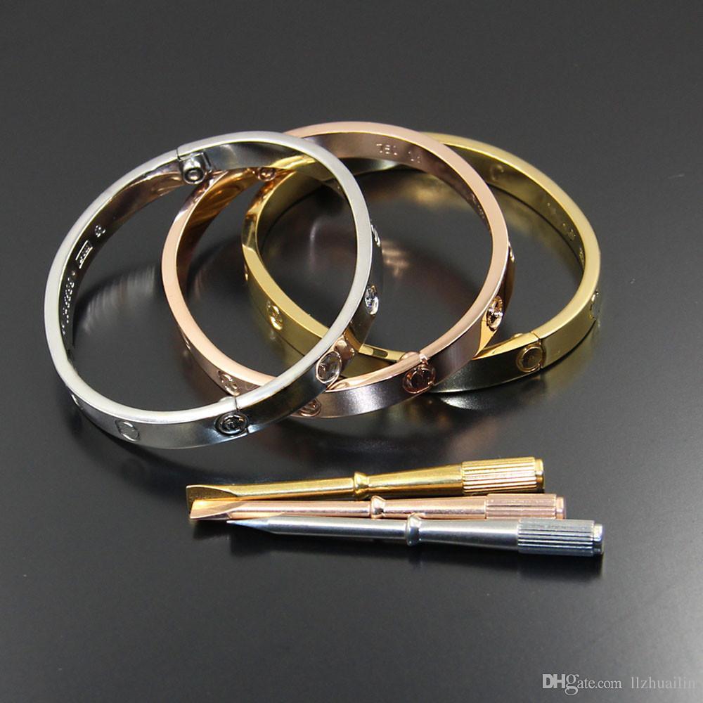 f43c1ea732dd5 Titanium Steel carter Love Bracelets silver rose gold bracelet Bangles  Women Men Screw Screwdriver Bracelet Couple Jewelry with logo bag