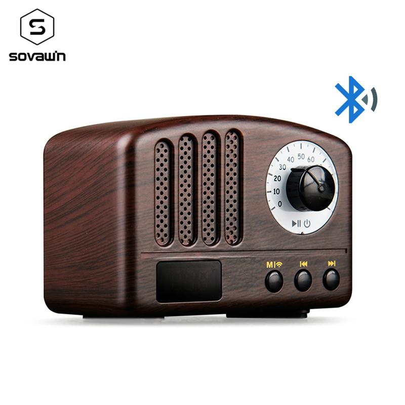 Rechargeable Mini Retro Bluetooth Speaker FM Radio 5W Portable Wireless  Music Classic Speaker 2000mAh Support TF Card AUX For PC
