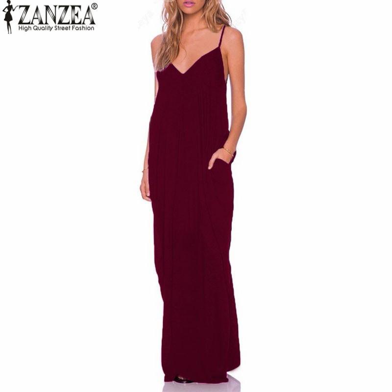 0f7dbb5f00 ZANZEA 2018 Summer Vestidos Women Dress Boho Strapless V-neck Sleeveless  Baggy Long Maxi Dresses Sexy Beach Sundress Robe Femme Y19012102