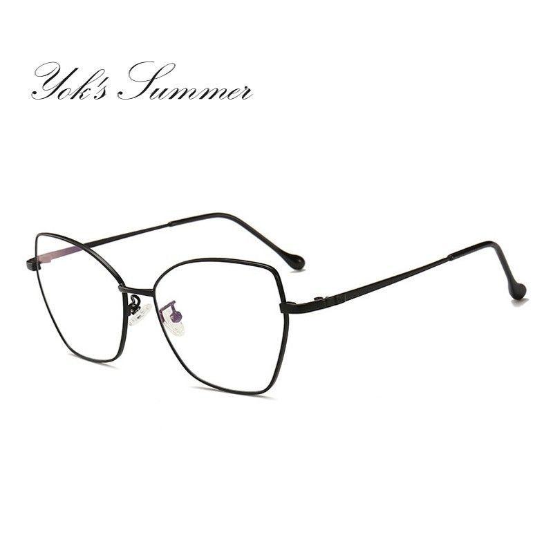 965231fabc620 Compre Yok s Vintage Olho De Gato Óculos De Armação De Ouro Transparente  Retro Aço Pernas Óculos Novos Óculos Homem Mulheres Óculos De Metal WN1076  De Yoks